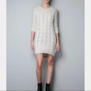 Zara Knit Large Bulky Cable Knit Sweater Dress